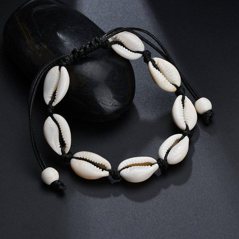 Jewelry - Bohemian Seashell Anklet Black -Damn-Skippy-Wear