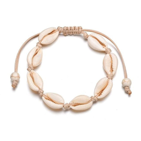 Jewelry - Bohemian Seashell Anklet Tan -Damn-Skippy-Wear