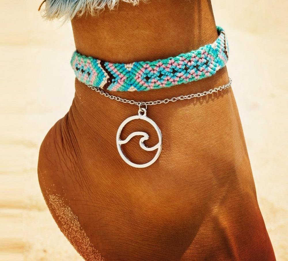 Jewelry - Woman wearing a Boho Jewelry Wave Anklet -Damn-Skippy-Wear