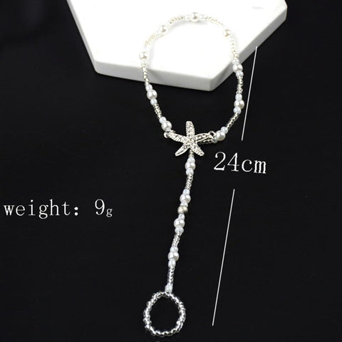 Image of Jewelry - Crystal Star Pearl Anklet