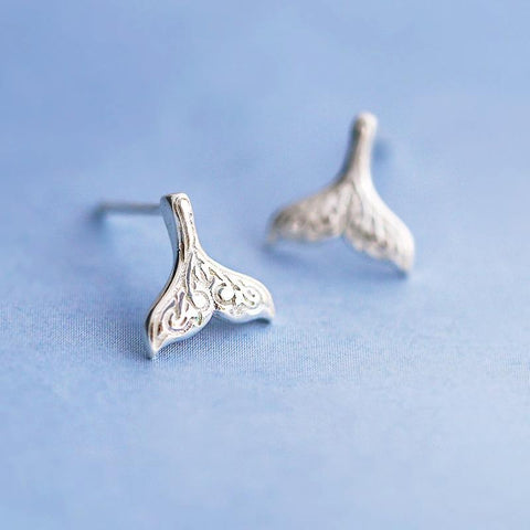 Jewelry - Etched Mermaid Tail Studs