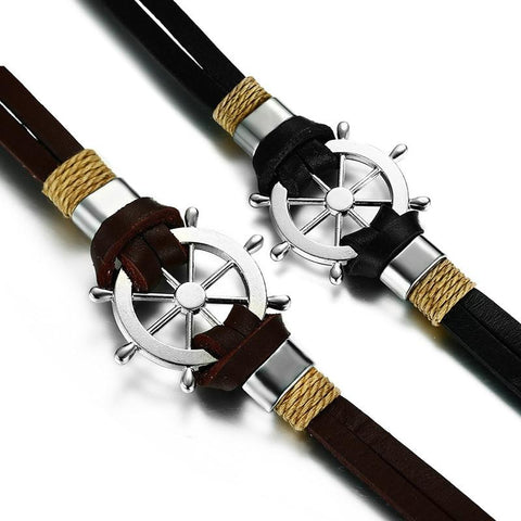Jewelry - Men's Double Layer Classic Leather Helm Bracelet
