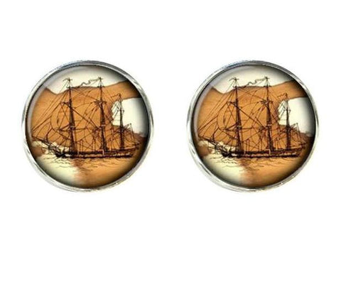 Image of Jewelry - Old World Sailing Clips And Cufflinks Merchantman Vessel
