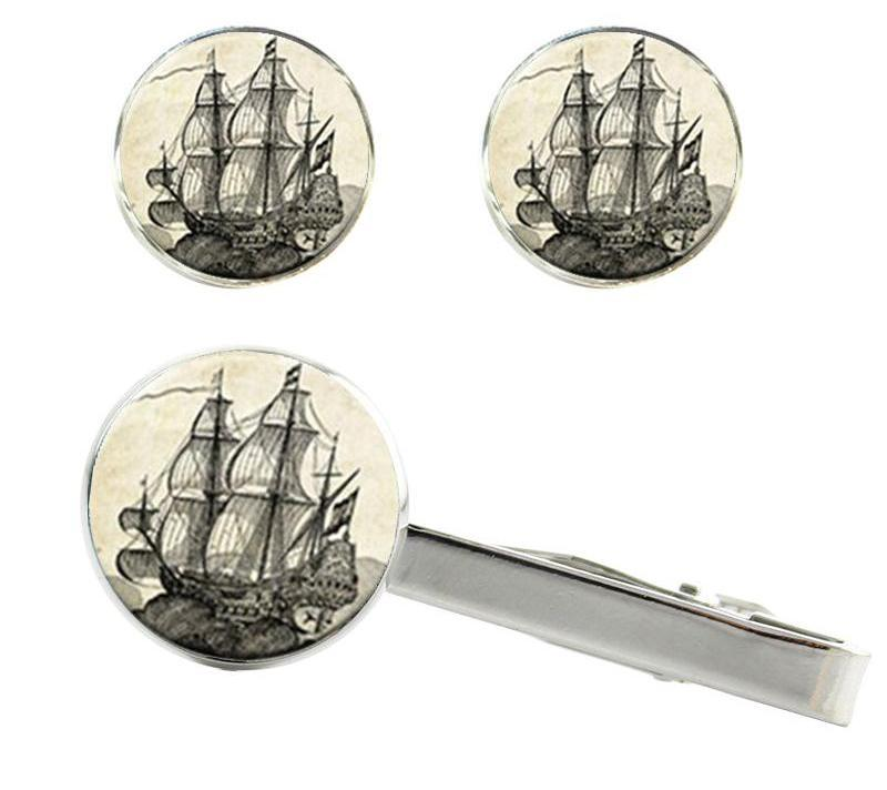 Jewelry - Old World Sailing Clips And Cufflinks Whaler