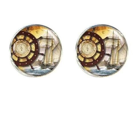 Image of Jewelry - Old World Sailing Clips And Cufflinks Helmsman