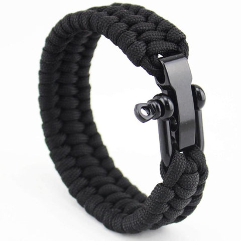 Jewelry - Stainless Anchor Shackles Paracord Bracelet - Black