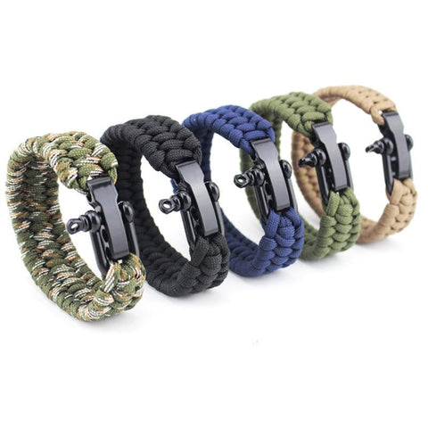 Image of Jewelry - Stainless Anchor Shackles Paracord Bracelets Various Colors