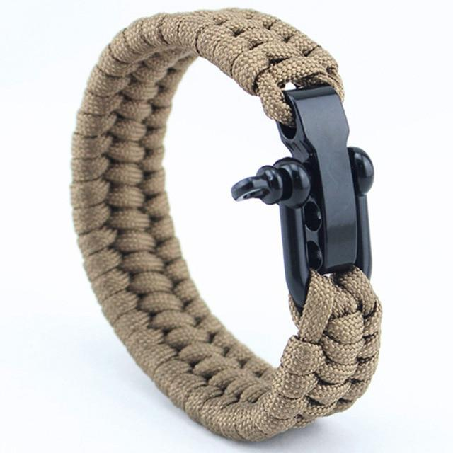 Jewelry - Stainless Anchor Shackles Paracord Bracelet - Tan