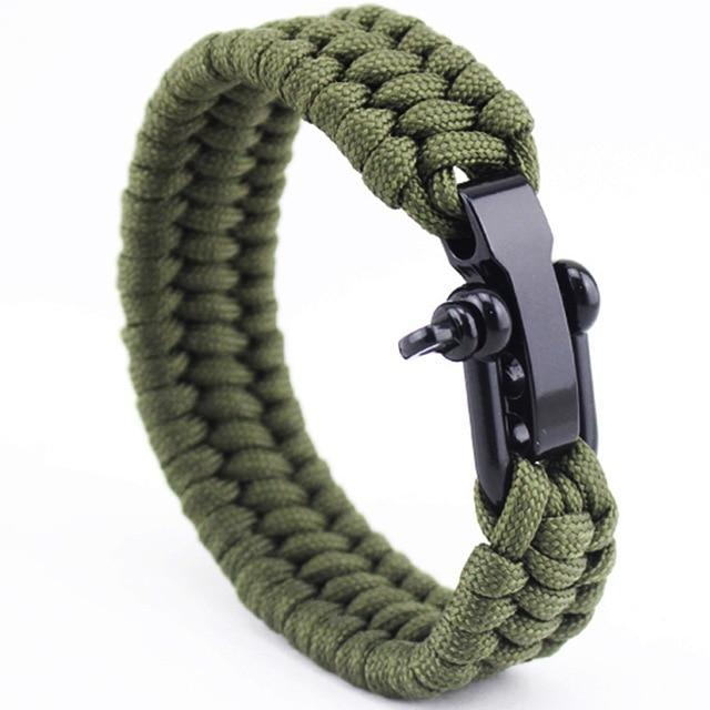 Jewelry - Stainless Anchor Shackles Paracord Bracelet - Army Green