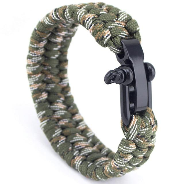 Jewelry - Stainless Anchor Shackles Paracord Bracelet - Army Green and White