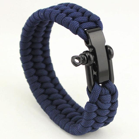Image of Jewelry - Stainless Anchor Shackles Paracord Bracelet - Navy