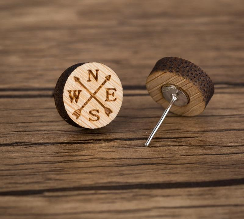 Jewelry - Timber Beach Stud Earrings Cardinal Directions Compass