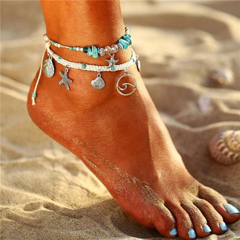 Sea Lover Ankle String with star, wave, shell, turquoise