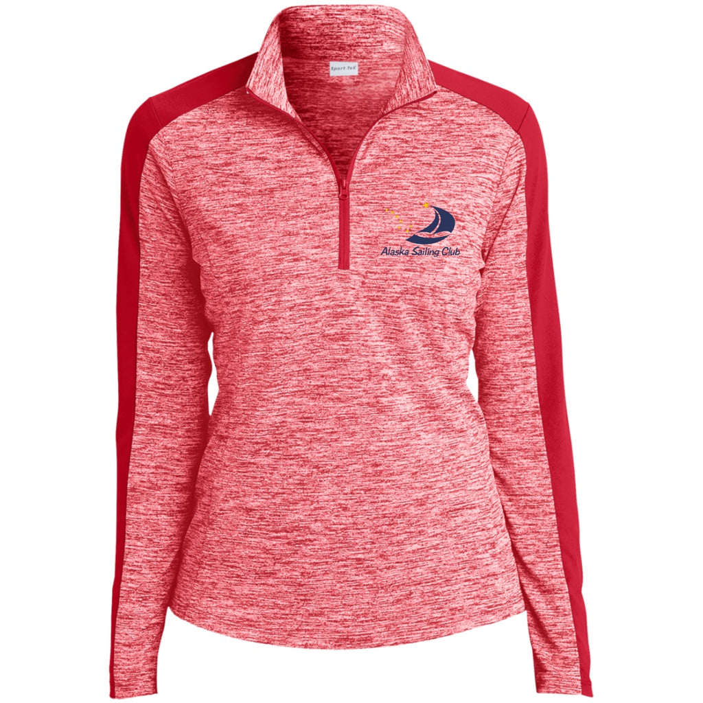 Sweatshirts - ASC Women's Electric Heather Colorblock Embroidered 1/4 Zip Pullover, Polyester