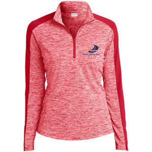 ASC Women's Electric Heather Colorblock Embroidered 1/4 Zip Pullover, Polyester