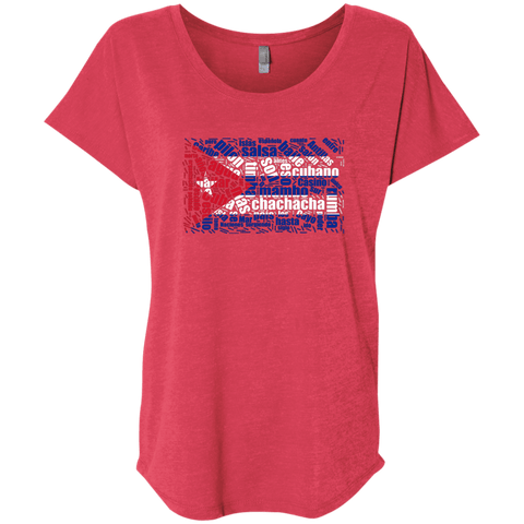 T-Shirts - Cuban Dance Flag Triblend Dolman Sleeve