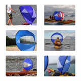 Image of Water Sports - Foldable Wind Sail For Kayak, SUP, Canoe And Paddle Boat blue