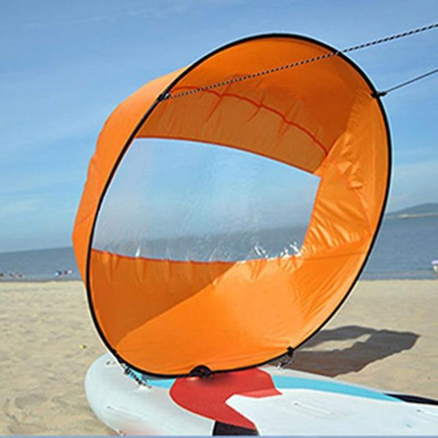 Water Sports - Foldable Wind Sail For Kayak, SUP, Canoe And Paddle Boat Orange Rectangular Window