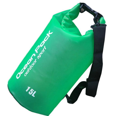 Water Sports - Waterproof Dry Bag For Swimming, Rafting, Kayaking, Sailing (15L) Green