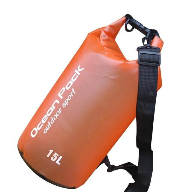 Water Sports - Waterproof Dry Bag For Swimming, Rafting, Kayaking, Sailing (15L) Orange