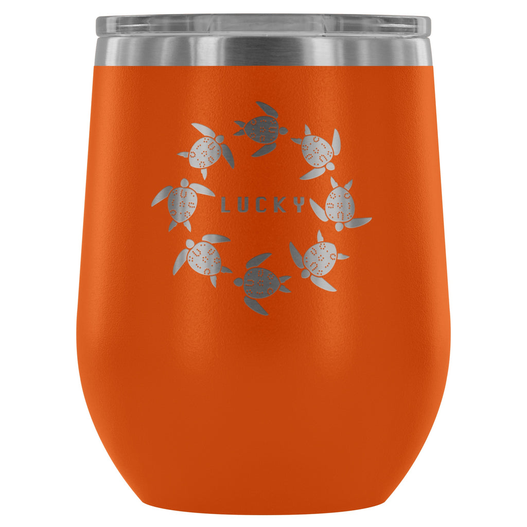 Wine Tumbler - The Lucky Lo Shu Ocean Turtle Insulated Wine Tumbler Stemless Glass Orange