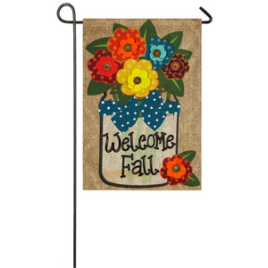 Welcome Fall Garden Burlap Flag