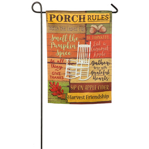Fall Porch Rules Garden Suede Flag