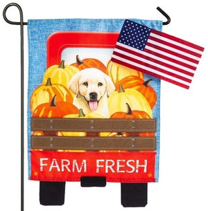 Farm Fresh Truck Puppy Linen Garden Flag