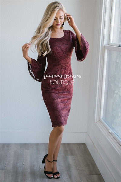 The April Modest Dresses vendor-unknown Dusty Burgundy XS