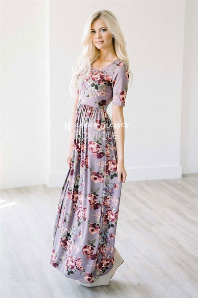 The Miranda in Dusty Lilac Floral Modest Dresses vendor-unknown XS Dusty Lilac