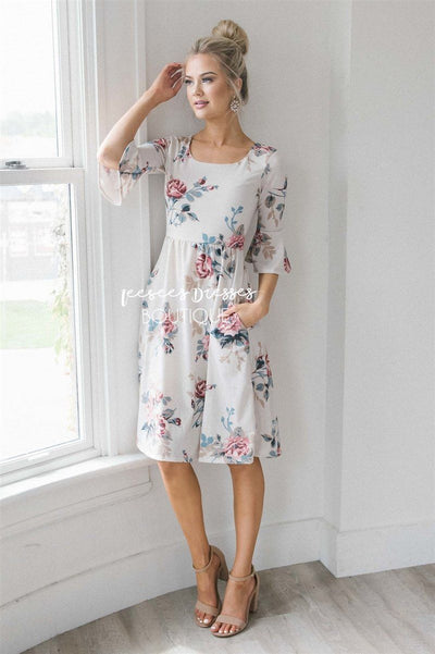 The Naomi Modest Dresses vendor-unknown Cream Floral XS