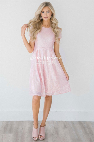 The Felicity Modest Dresses Mikarose Blush Pink S