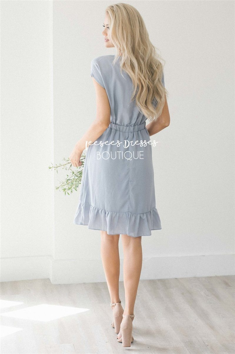 soft blue gray ruffle modest dress modest dress for nursing cute