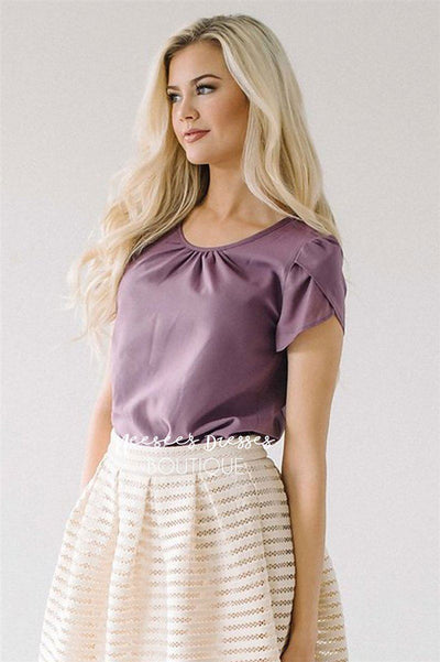 Dusty Lavender Chiffon Top Tops vendor-unknown Dusty Lavender XS