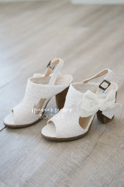Haida White Lace Bow Sandals Accessories & Shoes vendor-unknown White 5.5