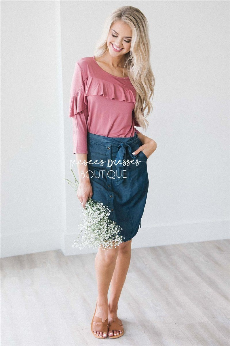 Chambray Button Front Tie Skirt