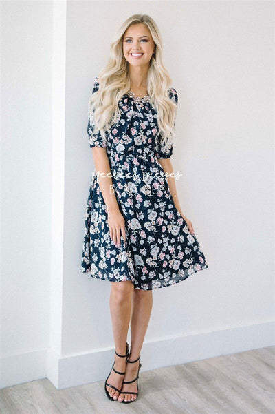 The Kayleigh Modest Dresses vendor-unknown Navy XS