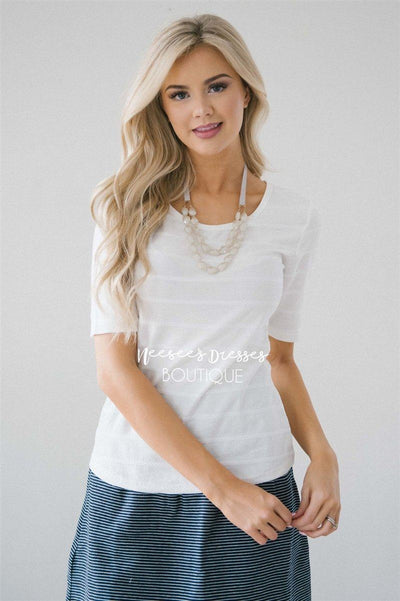White Scoop Neck Ribbed Top Tops vendor-unknown White XS