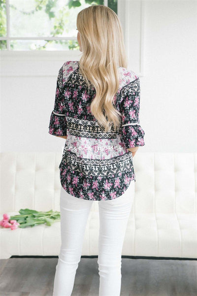 Lace Trim Bell Sleeve Chiffon Top Tops vendor-unknown