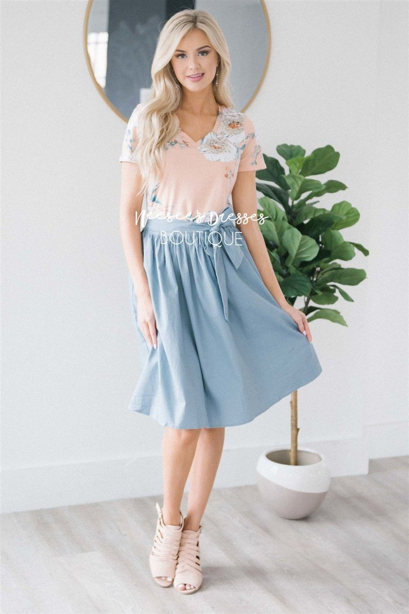 Chambray Tie Waist Skirt