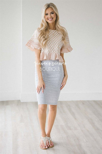 Gray Pencil Dress Champagne Shimmer Top Modest Dresses vendor-unknown S Gray/Shimmer Champagne