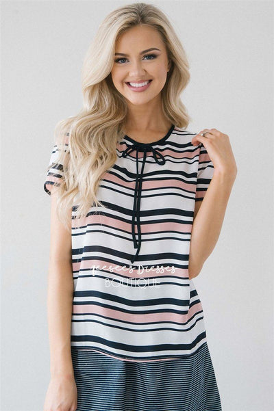 Pink & Navy Striped Neck Tie Blouse Tops vendor-unknown S Navy & Pink
