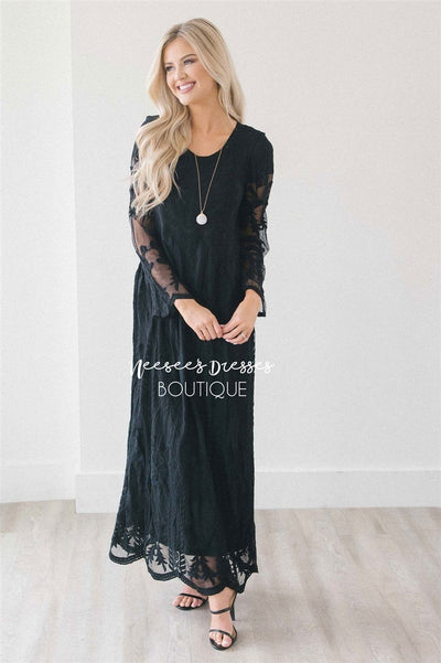 Day Dreamer Lace Full Length Dress Modest Dresses vendor-unknown Black XL