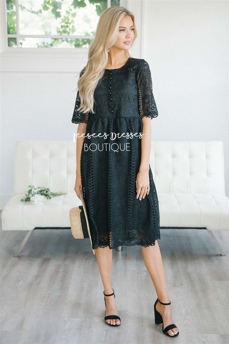 Love At First Sight- Nursing Friendly Modest Dresses vendor-unknown S Black