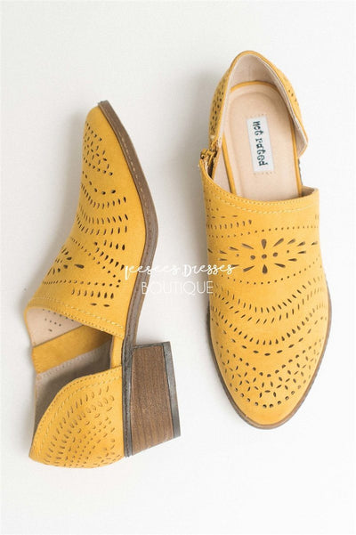 The Anouk Eyelet Booties Accessories & Shoes vendor-unknown Mustard 6