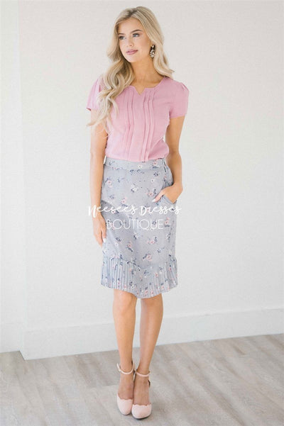 Dusty Lilac & Pink Pleated Hem Skirt