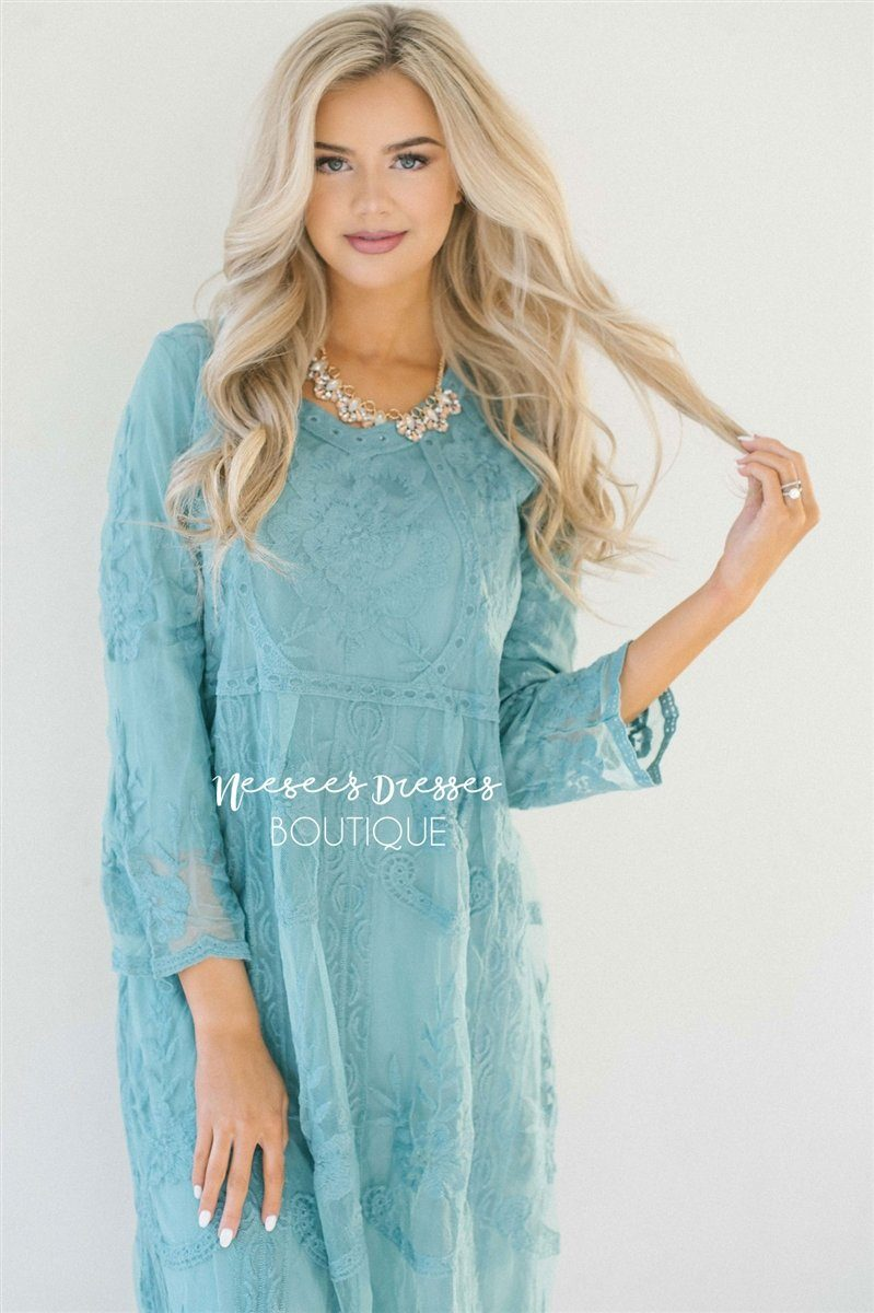 Day Dreamer Lace Dress in Dusty Teal Modest Dresses vendor-unknown Small/Medium Dusty Teal