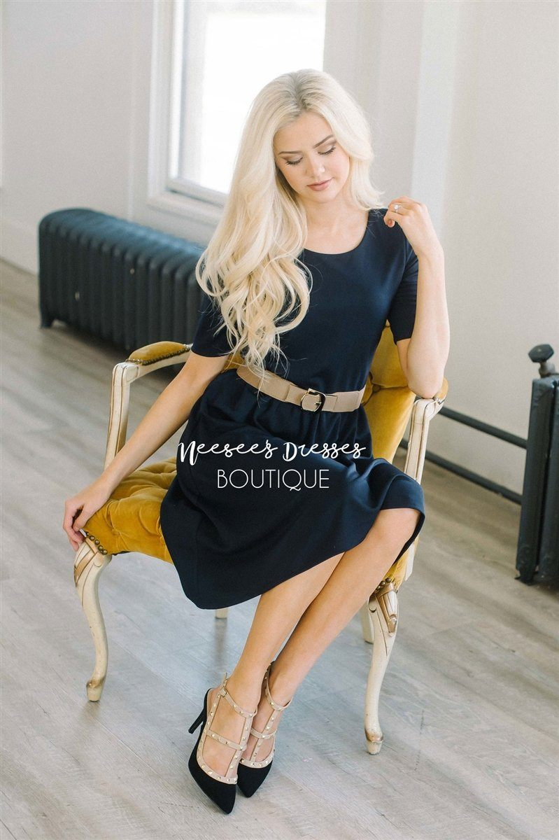 The Natalie Modest Dresses vendor-unknown Navy XS