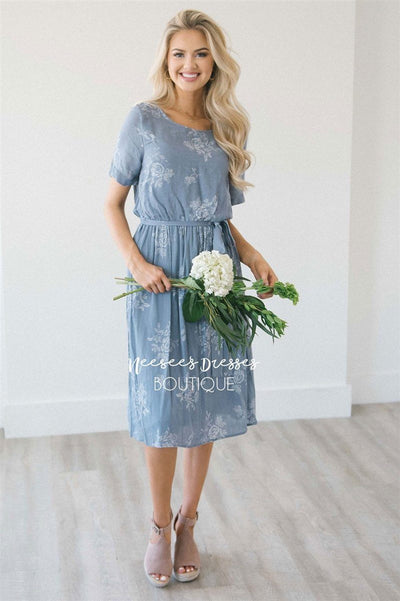 The Miriam Modest Dresses vendor-unknown S Slate Blue & Faded White Floral