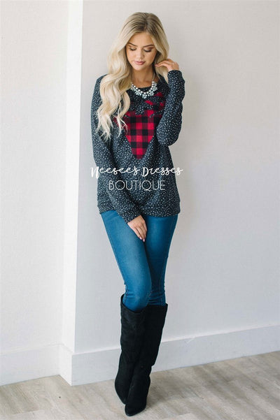 Falling Snow Plaid Reindeer Sweater Tops vendor-unknown